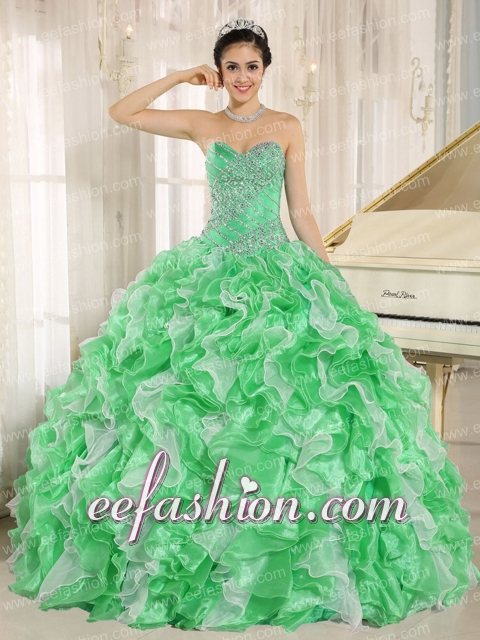 Green Beaded and Ruffles Custom Made For 2013 Sweetheart New Style Quinceanera Dress