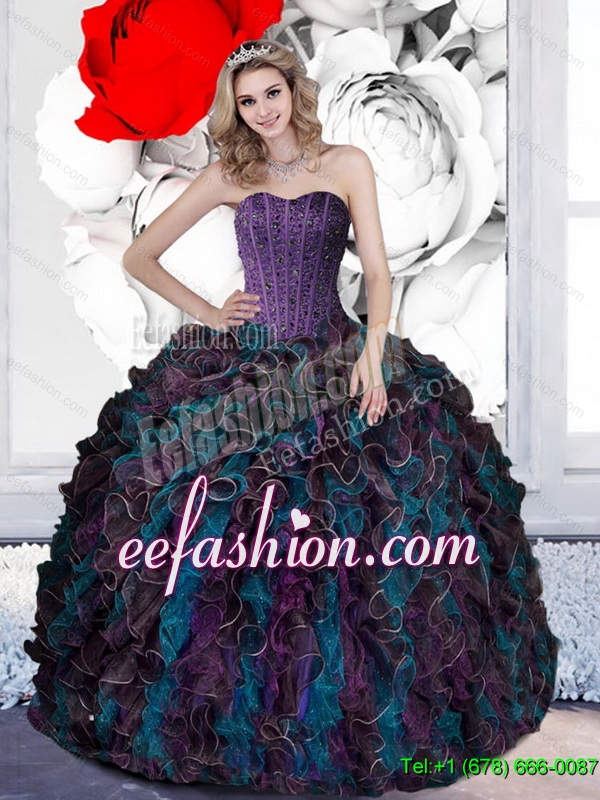2015 Custom Made Beading and Ruffles Quinceanera Dresses in Multi Color