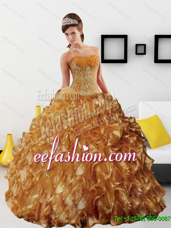 Gorgeous Appliques and Ruffles 2015 Quinceanera Dress in Gold