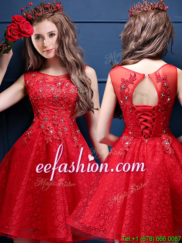 Classical Scoop Red Mother Of The Bride Dresses with Appliques and Beading