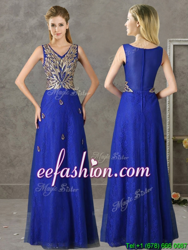Perfect V Neck Appliques and Beading Bridesmaid Dress in Royal Blue