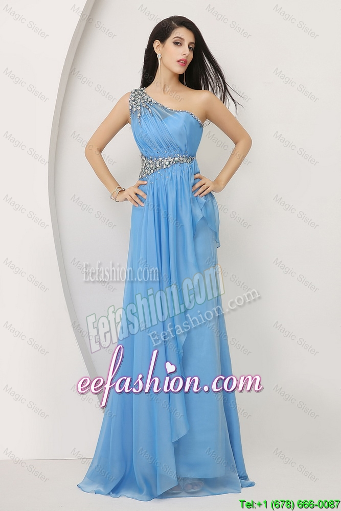 Cheap Beaded Baby Blue Prom Dresses with One Shoulder