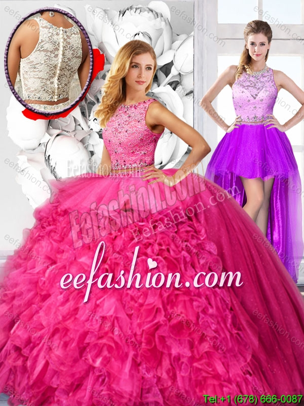 Cheap Hot Pink Detachable Quinceanera Dresses with Scoop