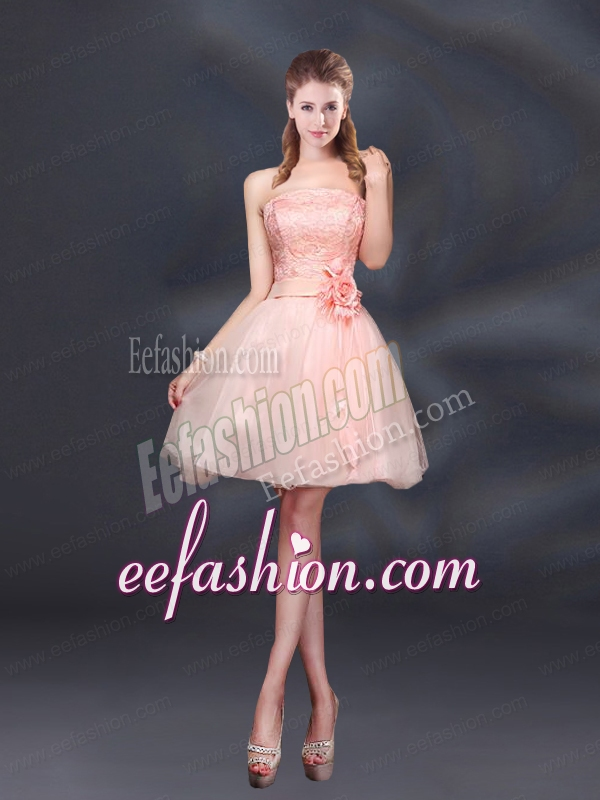 Strapless A Line Hand Made Flowers Bridesmaid Dress for 2015