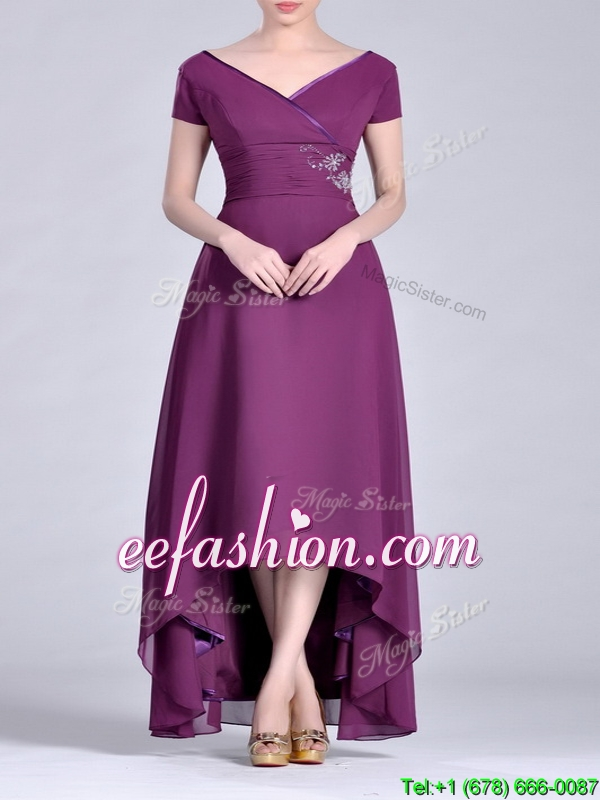Dark purple short sleeves best mother of the bride dress with v neck
