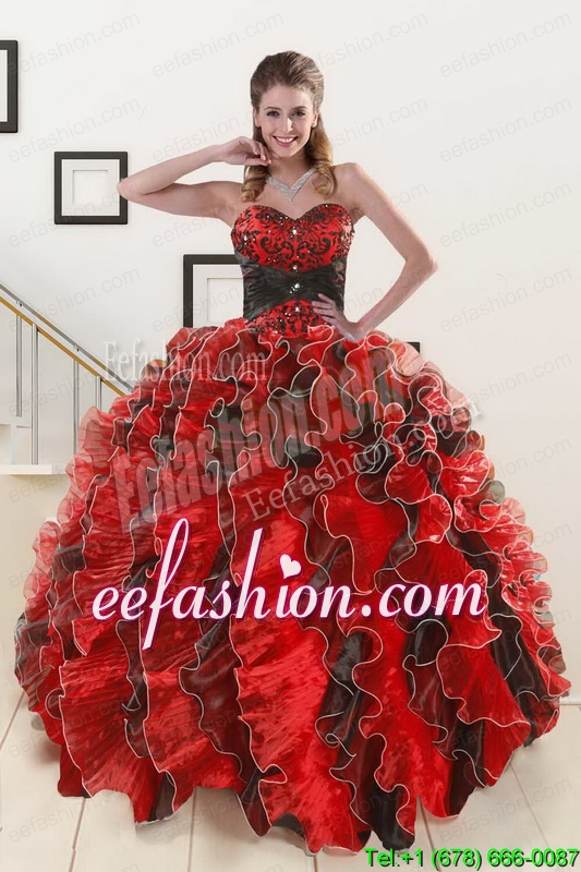In Stock Beaded Sweetheart Organza Quinceanera Dress in Multi Color