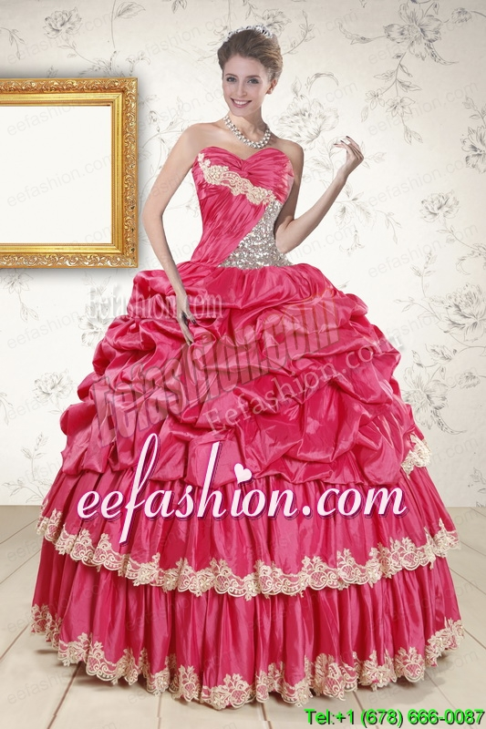 In Stock Cheap Appliques Sweet 15 Dresses in Coral Red