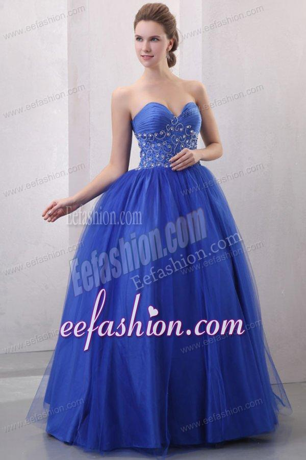 Beaded Decorate Sweetheart Royal Blue Quinceanera Dress ...