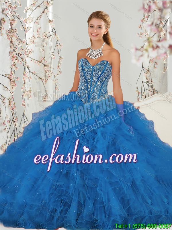2015 Affordable and Beautiful Beading and Ruffles Aqua Blue Quince Dresses