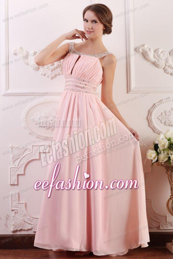 Baby Pink Empire Scoop Straps Prom Dress with Beading and ...