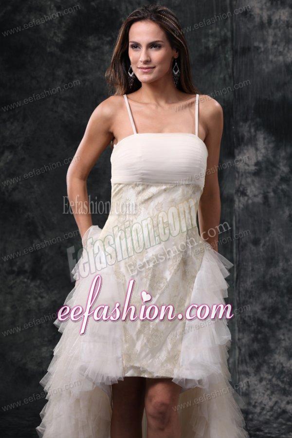 Column Straps High Low Beading Tulle Wedding Dress