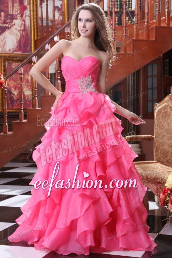 Hot Pink A Line Sweetheart Prom Dress With Beading And Ruffles