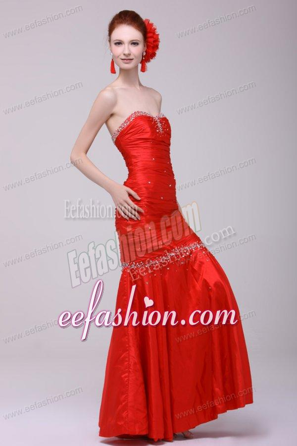 Mermaid sweetheart floor length beading red prom dress with lace up