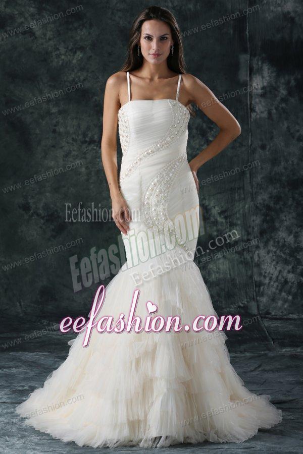 Spaghetti Strap Mermaid Beaded Decorate Tulle Wedding Dress