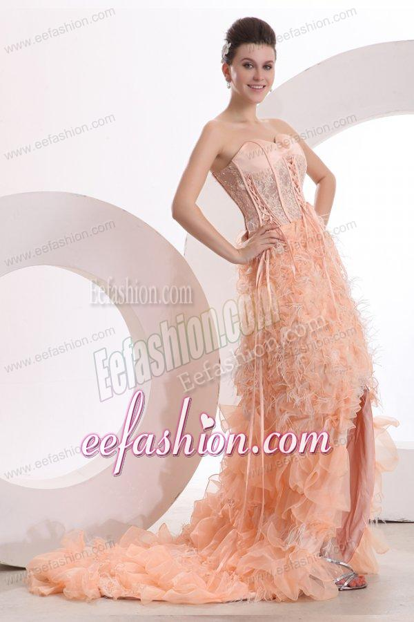 line Sweetheart Peach High-low Ruffles Organza Prom Dress with Lace UpPeach Prom Dress High Low