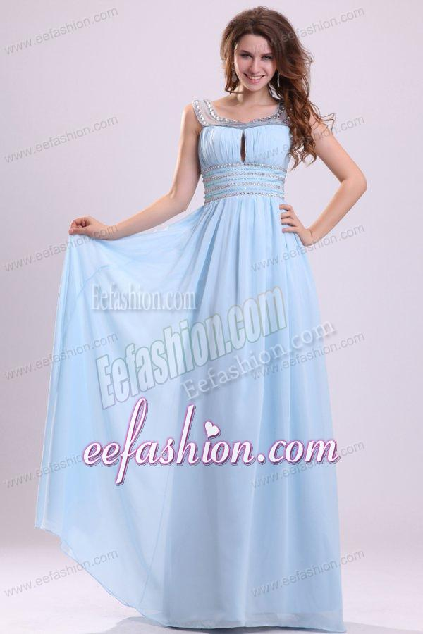 Baby Blue Empire Beading Scoop Floor-length Chiffon Prom Dress with Side Zipper