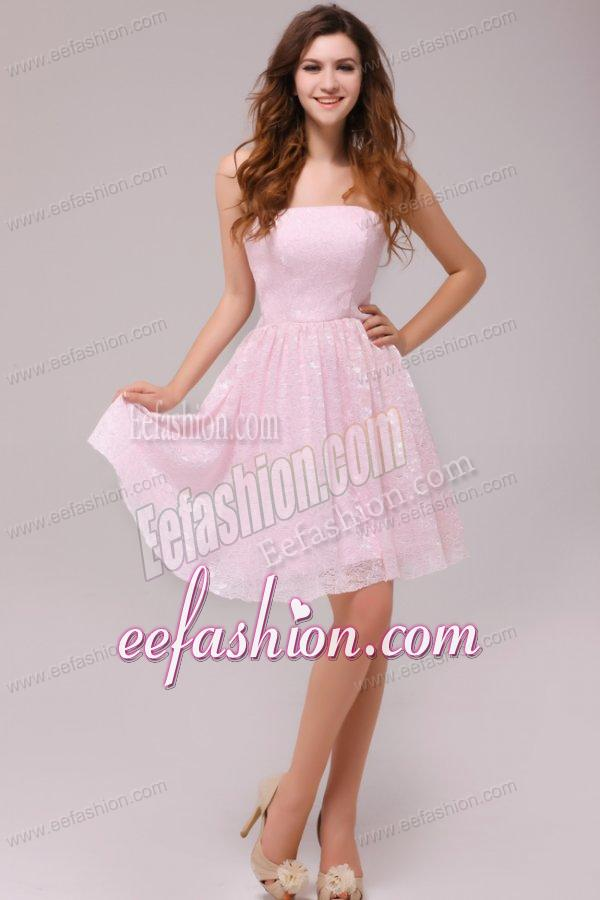 Baby Pink Strapless Knee length Empire Prom Dress for
