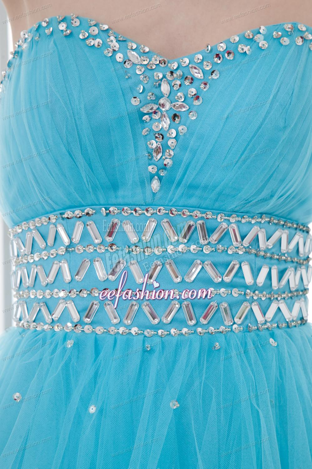 2014 Tulle A Line Sweathert Beading Baby Blue Belt Prom Dress