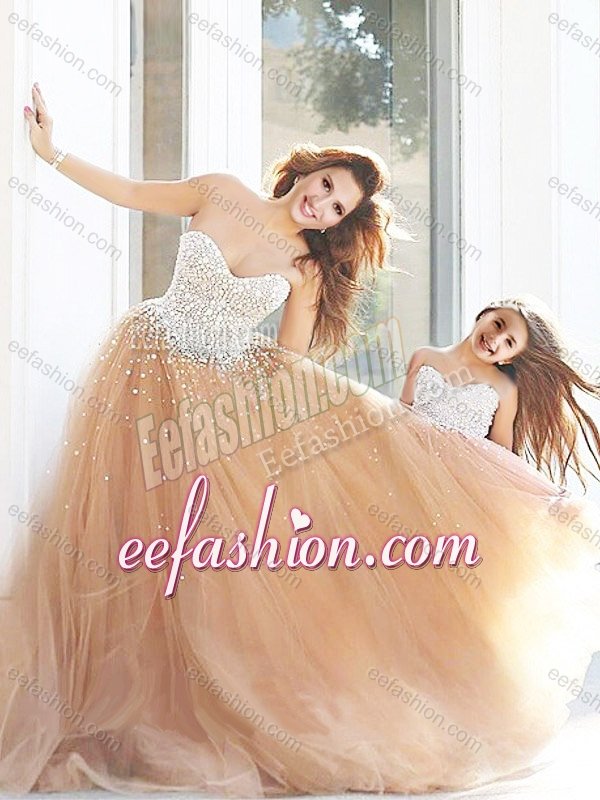 Cheap Beaded Prom Dress with Brush Train and Cheap Sweetheart Little Girl Dress with Beading