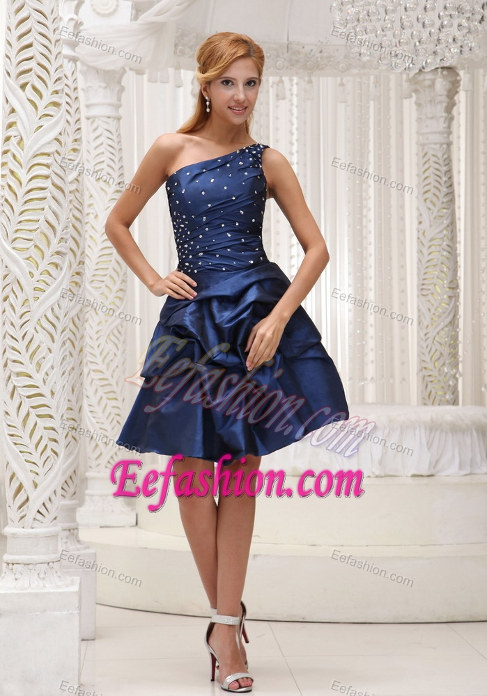 Navy Blue One Shoulder Semi Formal Prom Dresses In Knee Length