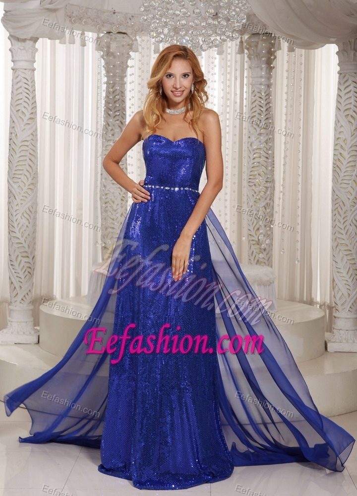 Sweetheart Chiffon Royal Blue Nice Senior Prom Dress with Sequins