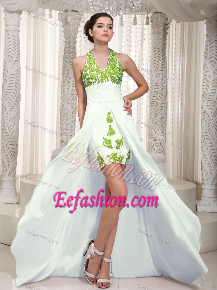 Custom Made Appliqued White High Low Dresses for Prom with Halter Top