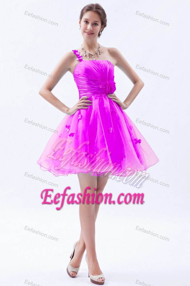 Clearance Princess One Shoulder Short Prom Dress in Hot Pink with ...