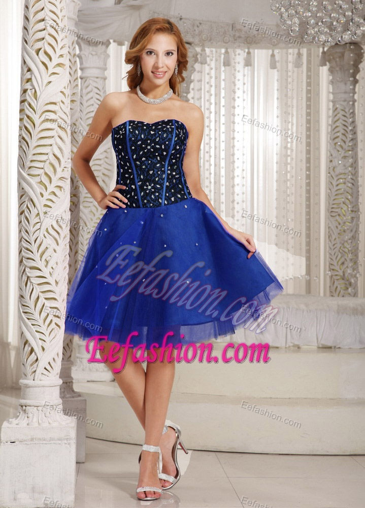 Brand New A-line Beading Prom Court Dress with Mini-length in Blue and Black
