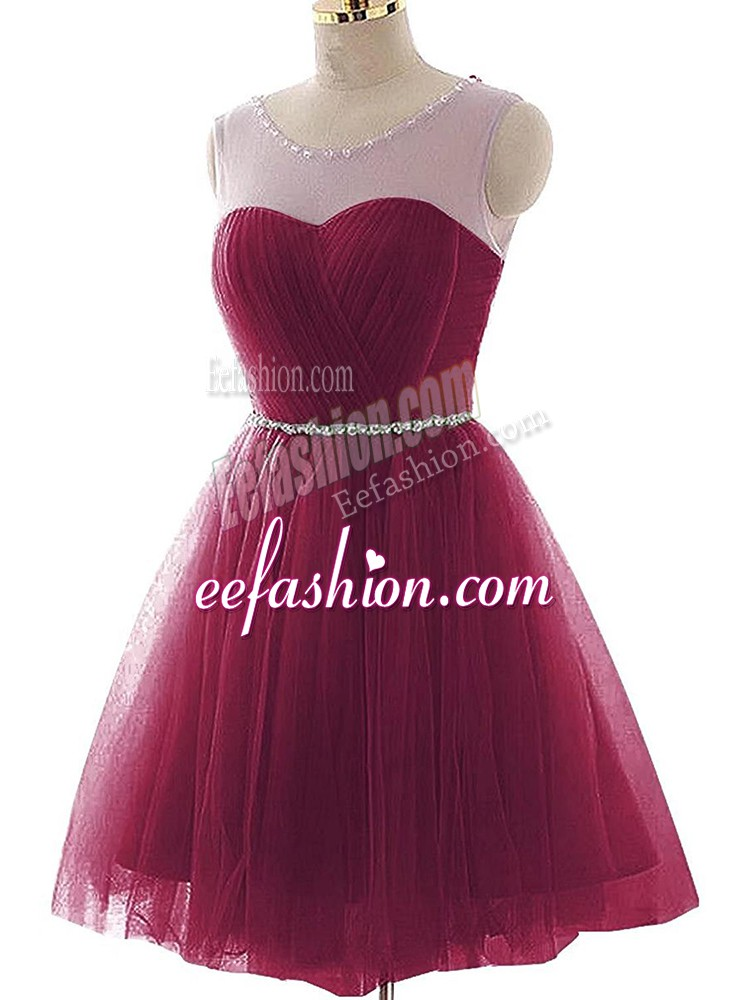 Burgundy A-line Tulle Scoop Sleeveless Beading and Ruffles Mini Length Lace Up Cocktail Dresses