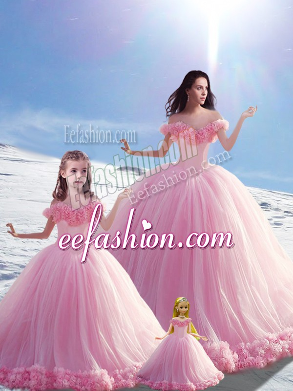 Suitable Off The Shoulder Sleeveless Brush Train Lace Up 15 Quinceanera Dress Baby Pink Tulle