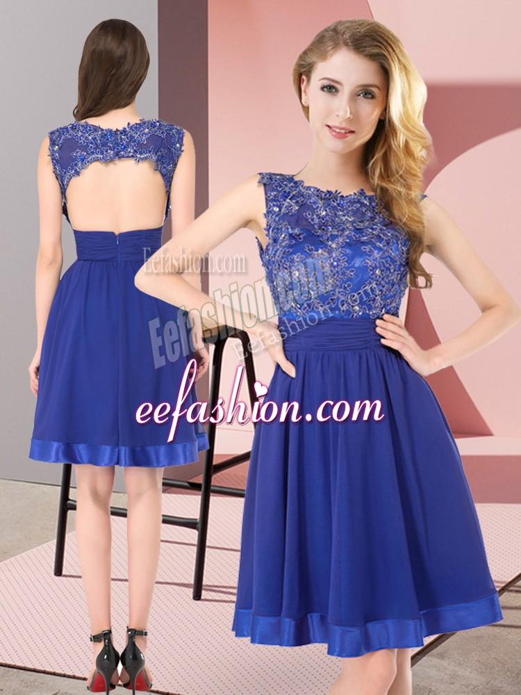 Royal Blue Scoop Backless Beading and Appliques Wedding Party Dress Sleeveless