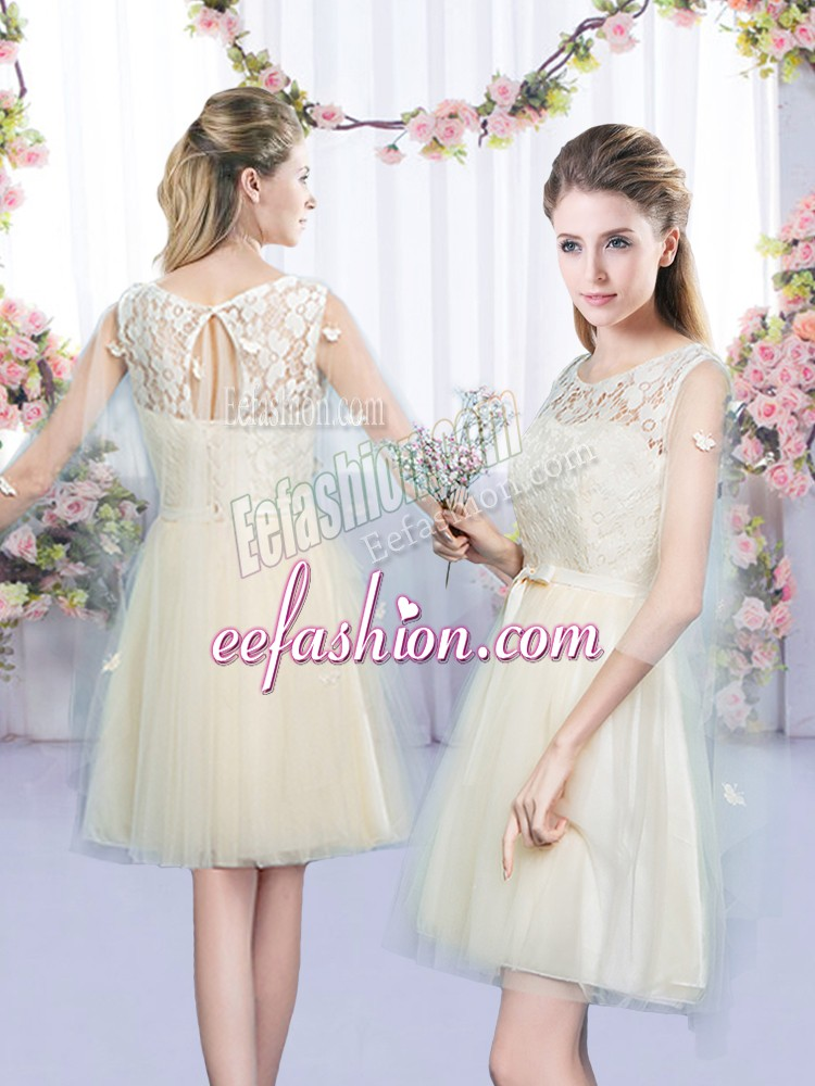 Stylish Champagne Empire Lace and Bowknot Quinceanera Dama Dress Lace Up Tulle Sleeveless Mini Length