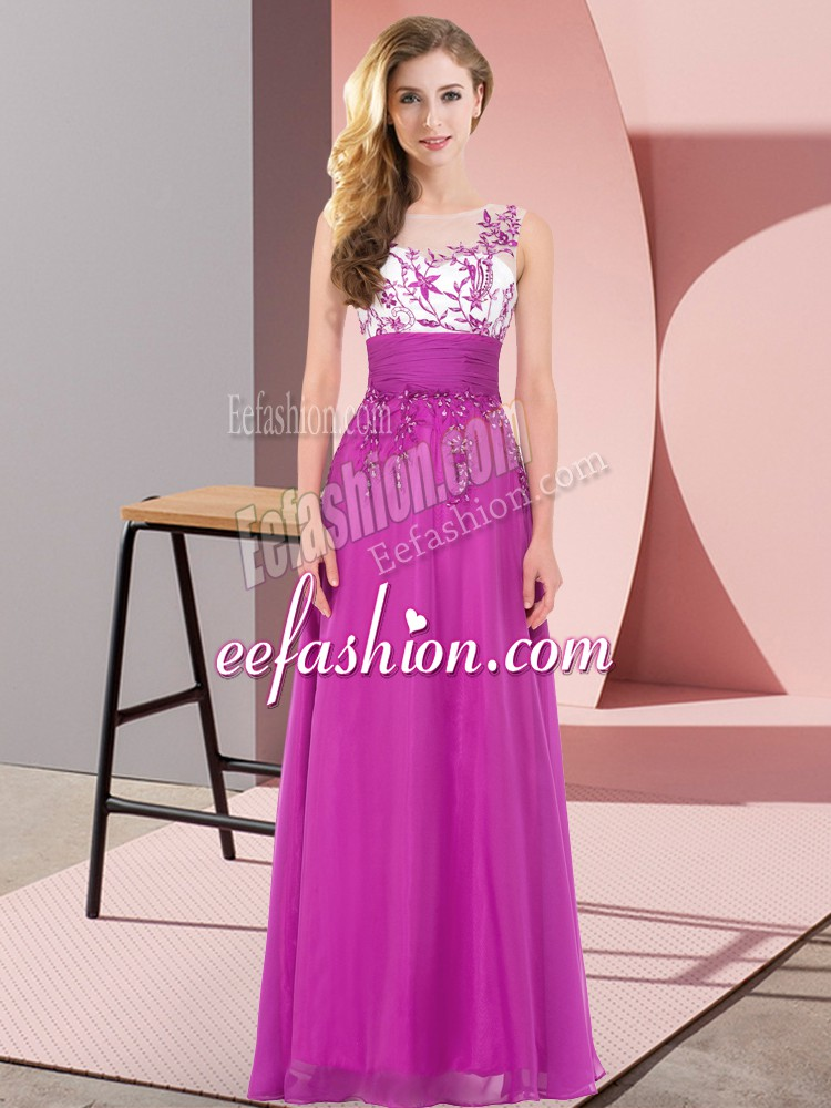 Excellent Scoop Sleeveless Backless Vestidos de Damas Fuchsia Chiffon