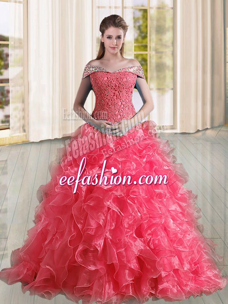 Clearance Coral Red Off The Shoulder Neckline Beading and Lace and Ruffles Sweet 16 Dress Sleeveless Lace Up