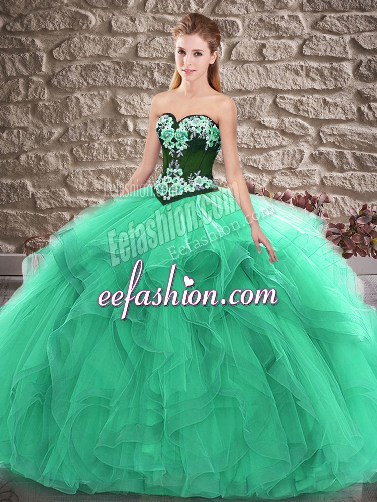 Sweetheart Sleeveless Quinceanera Dress Floor Length Beading and Embroidery Turquoise Tulle