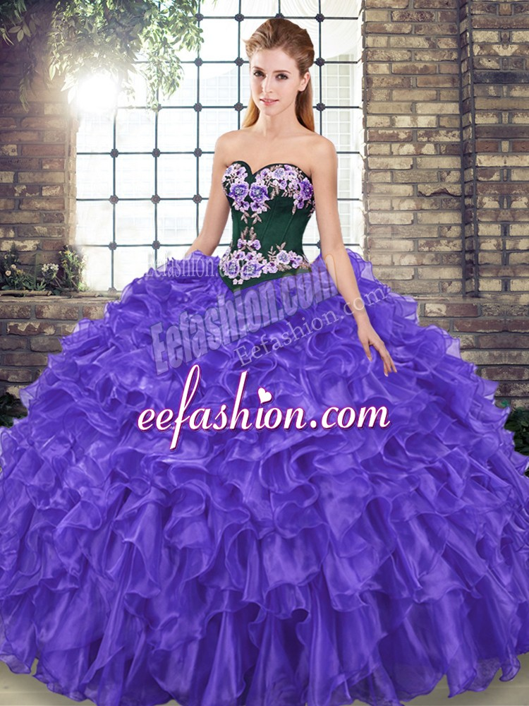 Captivating Sweetheart Sleeveless Organza 15 Quinceanera Dress Embroidery and Ruffles Sweep Train Lace Up