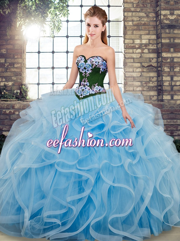 Smart Baby Blue Tulle Lace Up Ball Gown Prom Dress Sleeveless Sweep Train Embroidery
