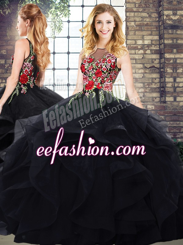 Suitable Sleeveless Floor Length Zipper 15th Birthday Dress in Black with Embroidery and Ruffles