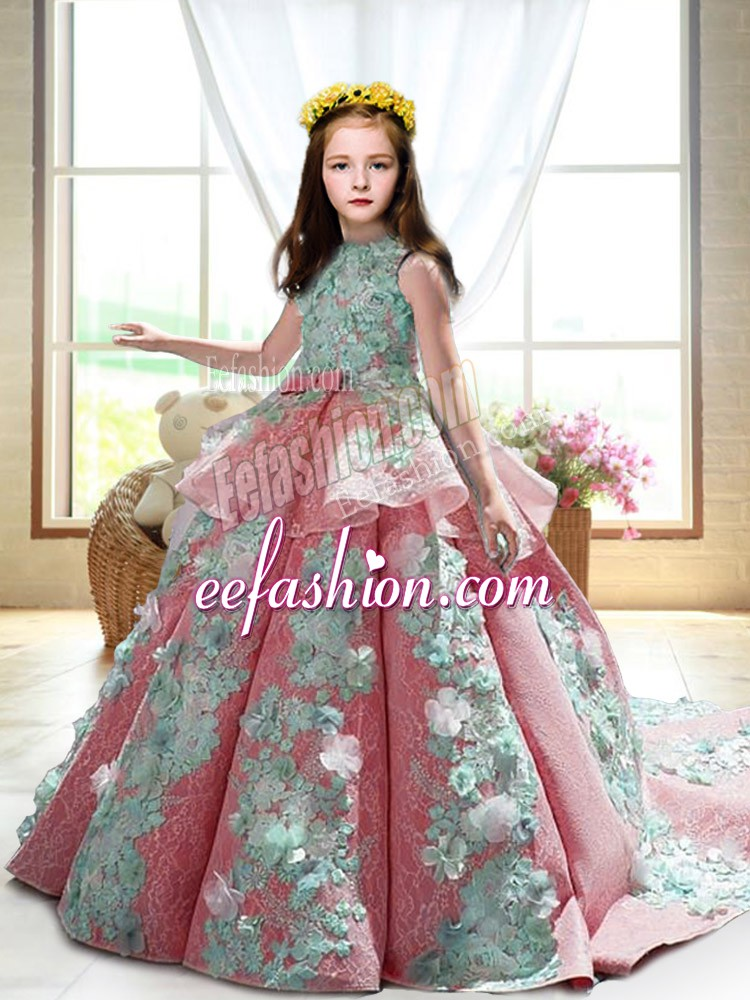 High-neck Sleeveless Court Train Backless Child Pageant Dress Watermelon Red Satin