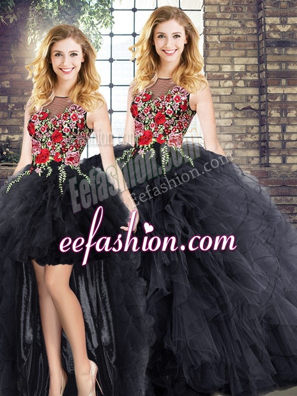 Graceful Scoop Sleeveless Zipper Vestidos de Quinceanera Black