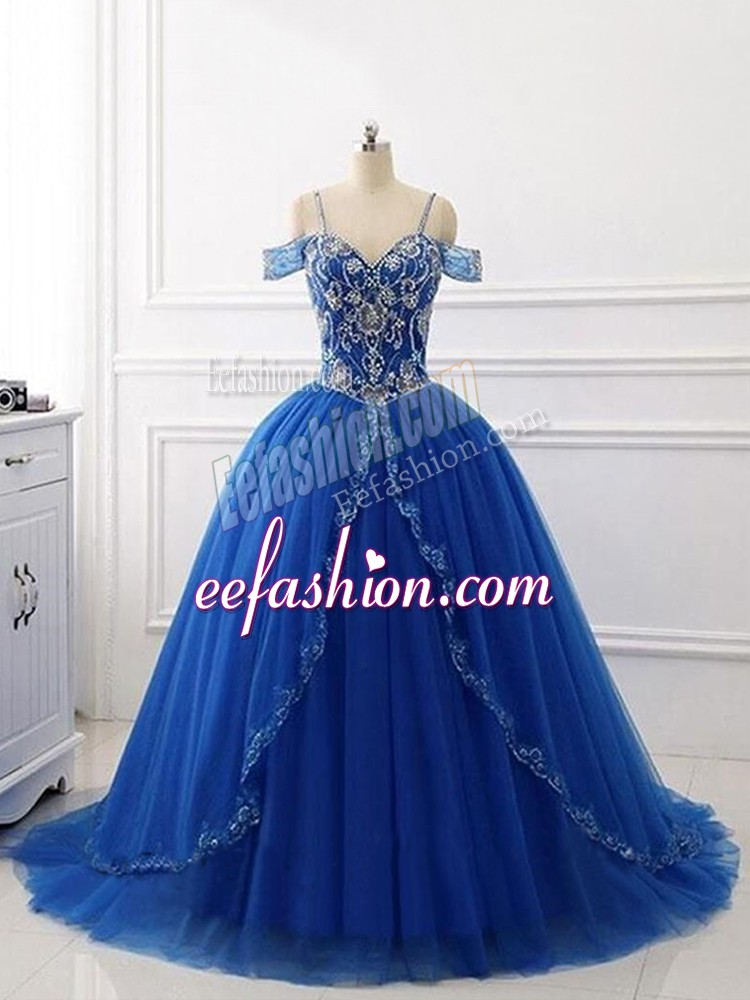 Customized Ball Gowns Sleeveless Royal Blue Sweet 16 Dresses Brush Train Lace Up