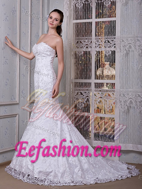 Stylish Mermaid Sweetheart Brush Train Wedding Bridal Gown in and Lace