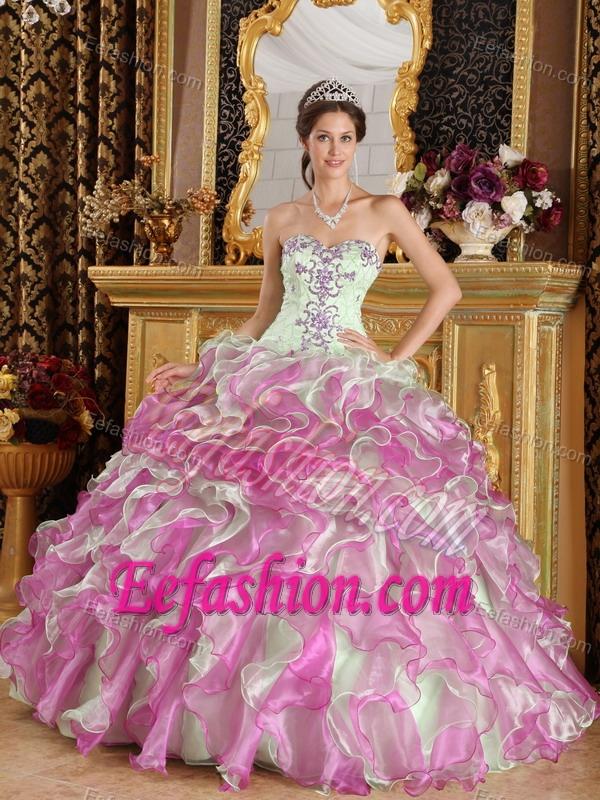 Dramatic Sweetheart Organza Quinceanera Dresses In Fuchsia
