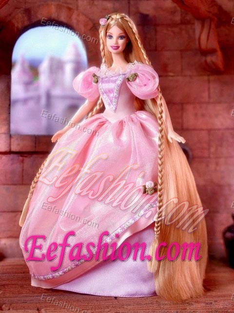 Beading and Hand Made Flowers Decorate Ball Gown Barbie Doll Dress