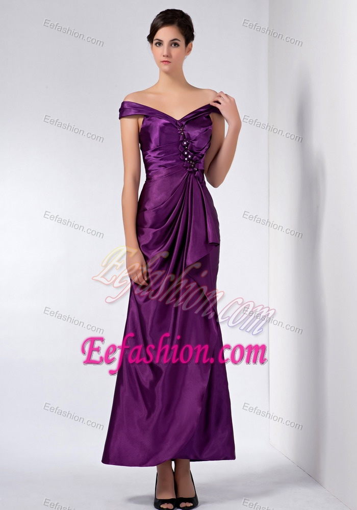 off-the-shoulder Ankle-length Purple Ruched Beaded Mother ...