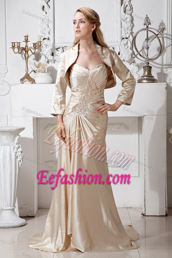Sweetheart Brush Train Beaded Mother of Bride Dress with Jacket