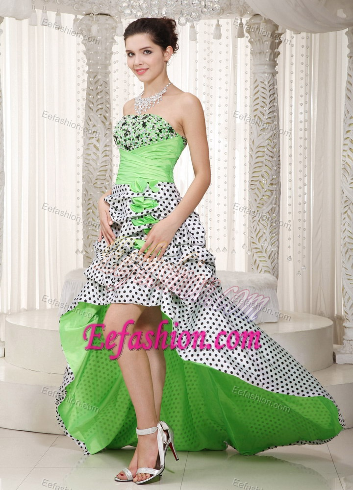 Multicolor A-line Strapless High-low Beaded and Ruched Prom Dress