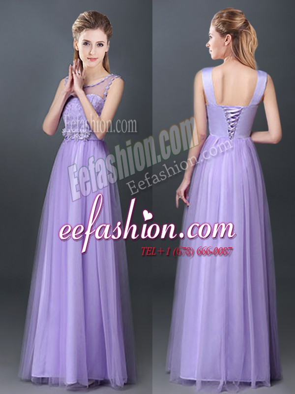 Wonderful Lavender Scoop Lace Up Lace and Hand Made Flower Court Dresses for Sweet 16 Sleeveless