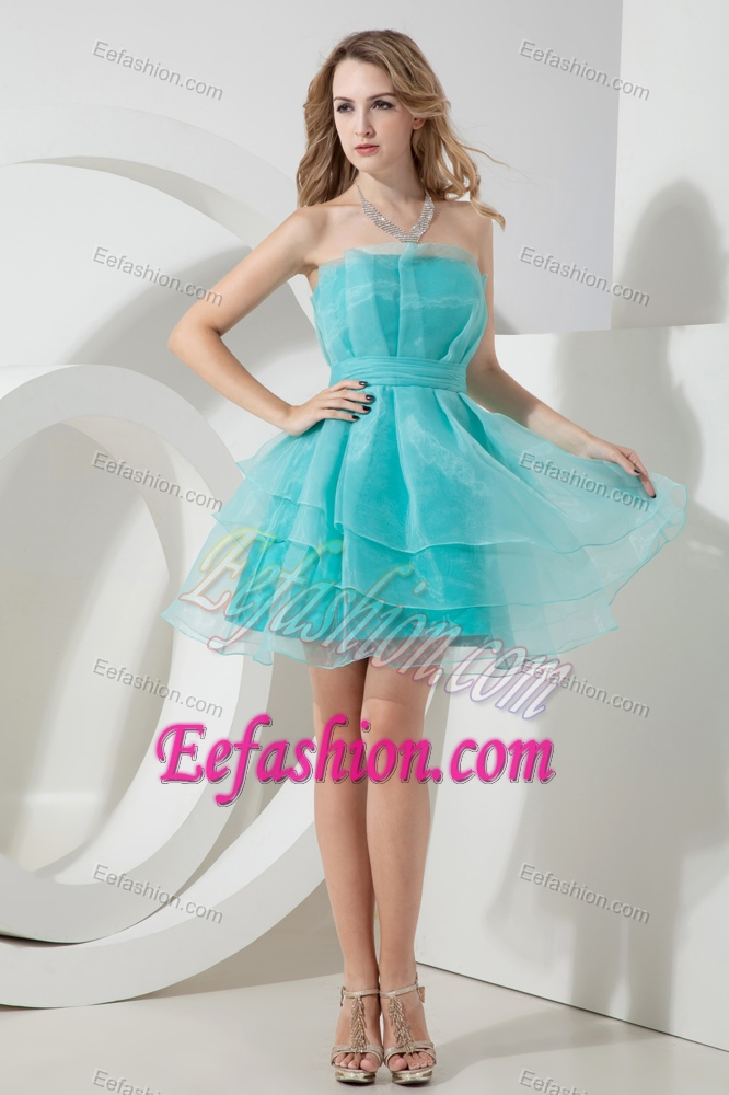 Blue Strapless Mini-length Organza Celebrity Dress for Juniors for ...