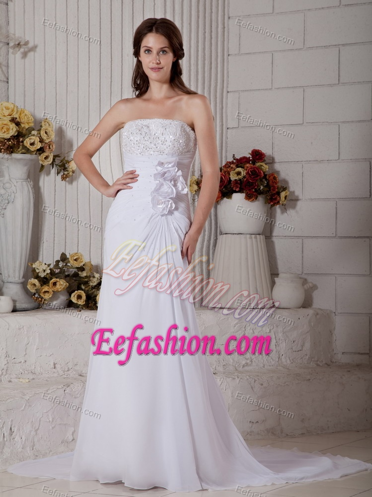 Strapless Court Train Chiffon Dress for Brides with Flowers and Beading